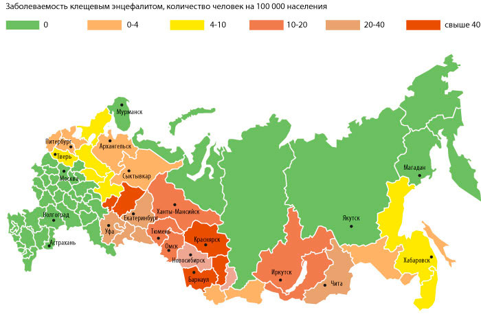 Карта клещевого энцефалита в России