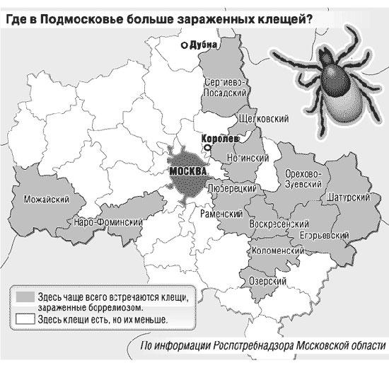 Карта опасности укуса клеща в Подмосковье 2017