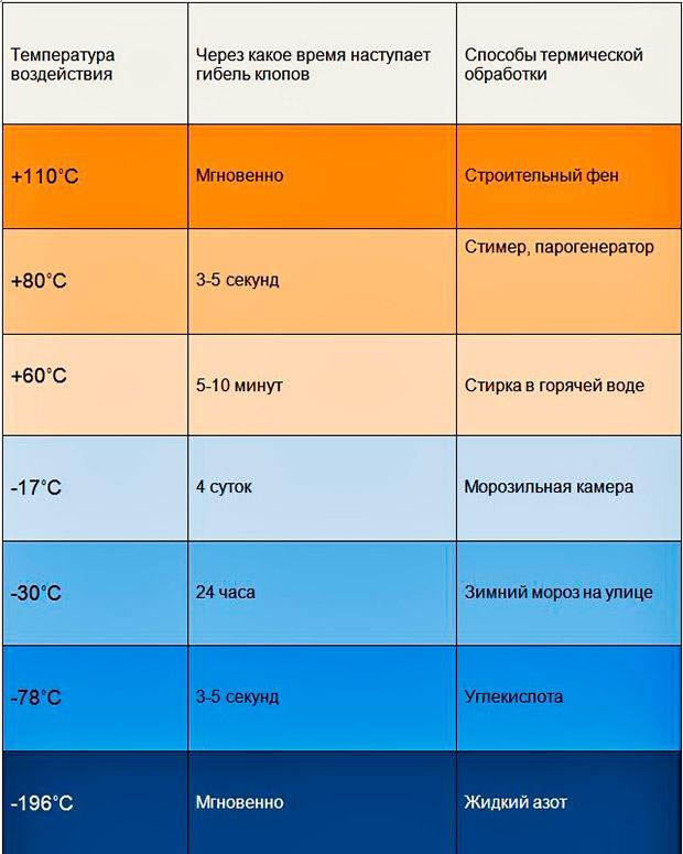 При какой температуре погибают клопы?