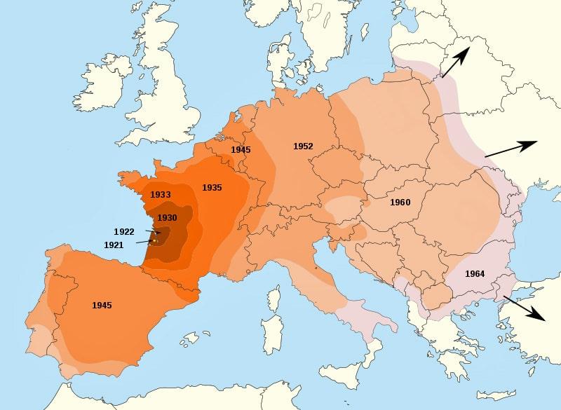 Распространение колорадского жука по Европе